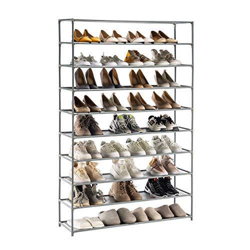 YOUDENOVA YOUDENOVA Zapatero de 5-10 Niveles Organizador de Zapatos para 50 Pares de Zapatos para Entrada, Dormitorio, Sala de Estar 150x93x30 Gris