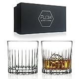 Juego de 2 vasos de whisky de cristal Deco, cristalería de cristal para whisky escocés, Bourbon Gin & Tonic, cócteles