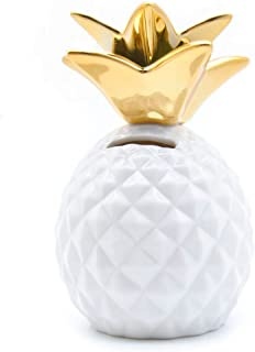 iefoah Pineapple Coin Piggy Bank Decorative Ceramic Pineapples Shaped Cans Cute Girls Piggy Bank for Pineapple Theme Party Decor Girls Kid's Children Adults Birthday Gifts (White)