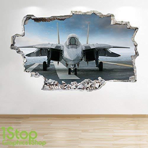 1Stop Graphics Shop Kampfjet Flieger Wandaufkleber 3D Optik - Jungen Kinder Schlafzimmer Himmel Wand Abziehbilder Z656 - Medium: 60 cm x 90 cm