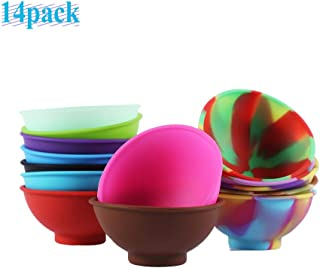 JAPI 14 Pieces Mini Silicone Pinch Bowls, 1.75 Ounce Prep and Serve Bowls, Multicolor