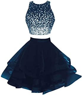 Beaded Two Piece Homecoming Dress Short Sexy Open Back Prom Ball Gown QB-20