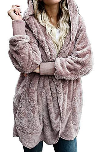Zilcremo Mujer Lana Chaqueta Cárdigan con Capucha Frente Abierto Abrigo Fleece de Piel Sintética Invierno Purplish Brown XL