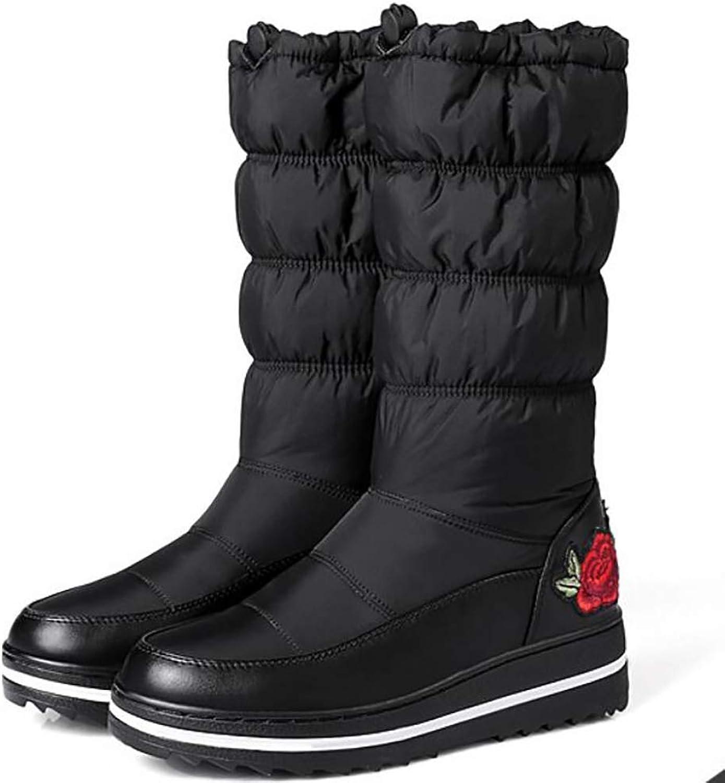 Fuxitoggo Damen Schneestiefel Winter Wasserdicht Warme Daunen Baumwolle Mode Stickerei Gemütlich Schuhe,schwarz,43 (Farbe   Schwarz, Gre   39)