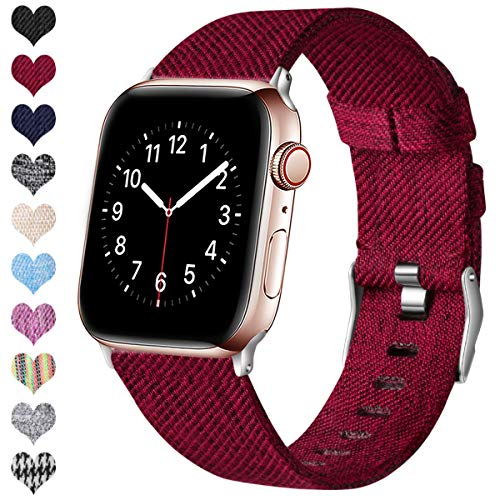 Ouwegaga Kompatibel mit Apple Watch Armband 38mm 40mm 42mm 44mm, Ersatzgewebe Band Stoff Armband Kompatibel mit Apple Watch SE/iWatch Serie 6 5 4 3 2 1, Rot 38mm/40mm
