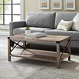 Walker Edison Sedalia Modern Farmhouse Metal X Coffee Table, 40 Inch, Grey Wash