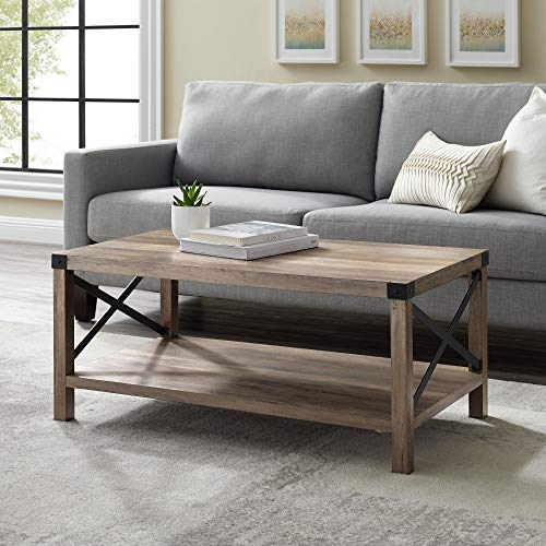 Walker Edison Furniture Company Rustic Modern Farmhouse Metal and Wood Rectangle Accent Coffee Table Living Room Ottoman Storage Shelf, Gray Wash