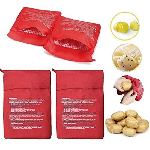 LjzlSxMF 4PCS Patata cocción en el Horno de microondas Bolsa Bolsa de cocción de Patata Bolsa Reutilizable Lavable Herramienta de Calentamiento para Hornear de Bolsa para Hornear Patatas Rojo