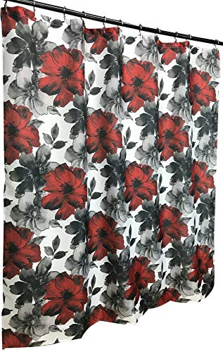 Romantic Goth Duschvorhang, Aquarell-Blumen-Design, Dunkelrot, Anthrazit, Schwarz, Weiß