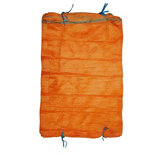 Helo Raschelsäcke 50 Stück für bis zu 12,5 kg Gewicht (41 x 63 cm), hoch reißfest und mit Zugband, Säcke geeignet z.B. als Kartoffelsäcke, Zwiebelsäcke, Gemüsesäcke, Obstsäcke oder Holzsäcke