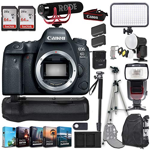 Best Buy! Canon EOS 6D Mark II DSLR Camera (Body Only) + Photo/Video Editing Software Kit and Deluxe...