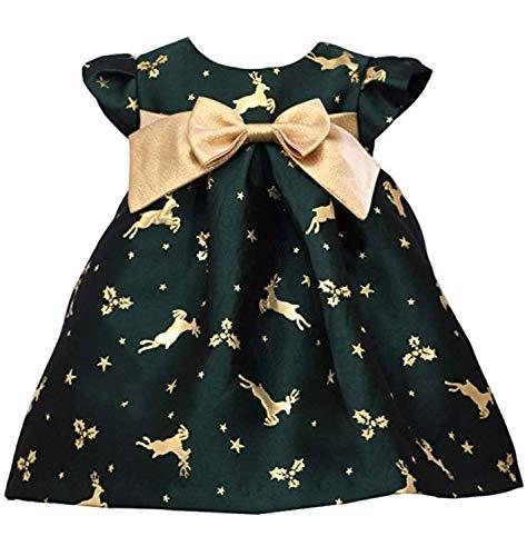 Bonnie Baby Holiday Dresses Girls Christmas Dress (Green Reindeer, 12 Months)
