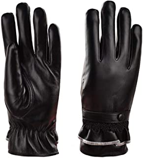 WUXiaodanDan Women's Leather Gloves Lace Leather Hand Touch Screen Gloves Plus Velvet Warm Gloves