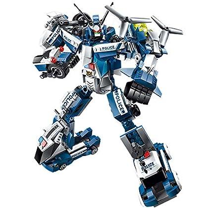 フェリモア 変形ロボット 車 合体ロボット パトカー 白バイ ブロック 緊急車両 警察 ミニカー (ホワイト×ブルー)