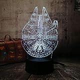 Luz Nocturna 3D Películas Star Wars Nave Espacial 3D Led Rgb Luz Nocturna 7 Colores Cambiantes Lámpara De Escritorio Para Dormir Decoración Del Hogar Vacaciones Niños Regalo De Navidad Sin Marca