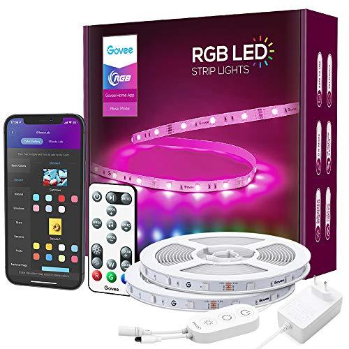 Govee LED Strip RGB 15m Alexa LED Streifen Smart WiFi Leuchten mit Fernbedienung App Steuerung Musiksteuerung WLAN Google Assistant Farbwechsel LED Lichtleiste für Schlafzimmer Küche Wohnzimmer