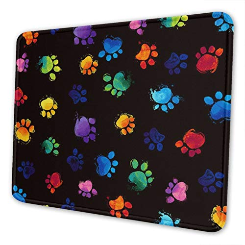 Colorful Dog Paw Prints Gaming Mouse Pad Square Waterproof Mouse Mat with Non-Slip Rubber Base for Office Home Laptop Travel