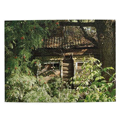 MAYUES Rompecabezas Puzzle 500 Piezas Cabaña de Roble abandonada en arbustos, helechos,...