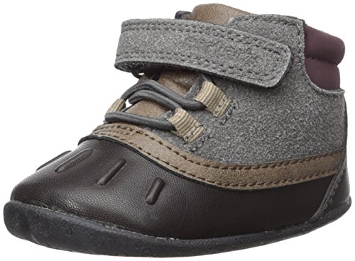 Carter's Every Step Boys' Stage 2 Stand, Jonah-SB Fashion Boot, Grey/Dark Brown, 5.0 M US (9-12 Months)