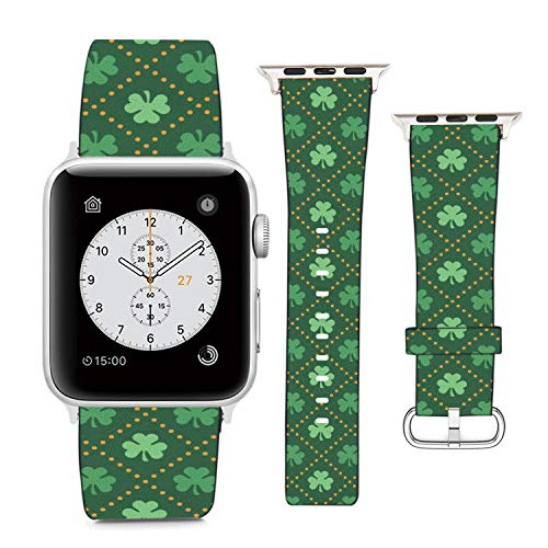 Compatible with Apple Watch Wristband 38mm 40mm, (Celtic Shamrock Clover Pattern) PU Leather Band Replacement Strap for iWatch Series 5 4 3 2 1