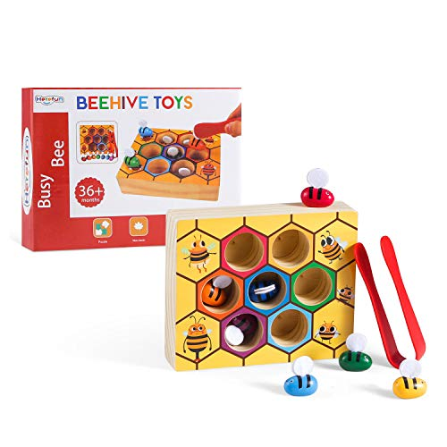 Herefun Sortierset Bee to Hive Matching Game, Montessori- Farbsortierpuzzle, Learning Resources Sortier Stapel Spielzeug, Pädagogisches Geschicklichkeitsspielzeug Geschenk zum Geburtstag Kindertag