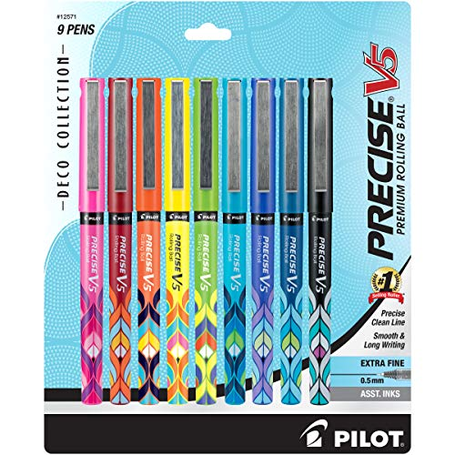 PILOT Precise V5 Stick Liquid Ink Rolling Ball Stick Pens, Extra Fine Point, Assorted Ink Colors, 9-Pack (12571)