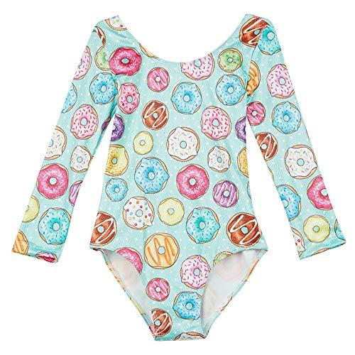 Midout Little Girls Long Sleeve Leotard Gymnastics, Sparkly Leotard Costume for Kids 4t 5t Green Donut