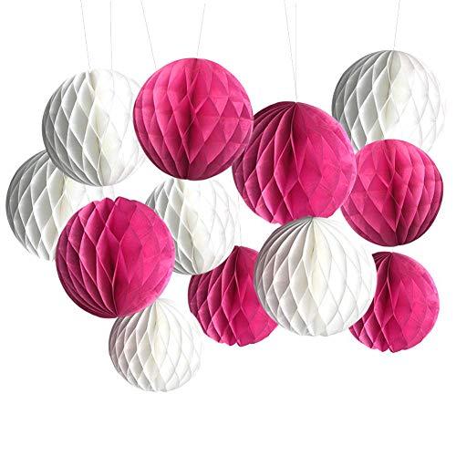 SwirlColor Pompones de Papel Bolas de Papel Pompones Bolas de Flores de Papel para Decoraciones de Fiestas / Bodas / Fiestas 12PCS Blanco y Rosa Rojo