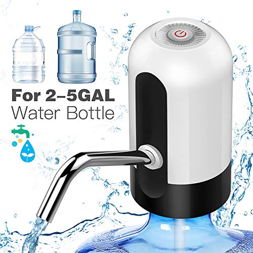 Drinking Water Pump,MIKOSI Usb Charging Automatic Water Bottle Pump Universal Electric Water Dispenser, Waterproof LED Button Automatic Drinking Water Bottle Dispenser for 2-5 Gallon with 2 Silicone