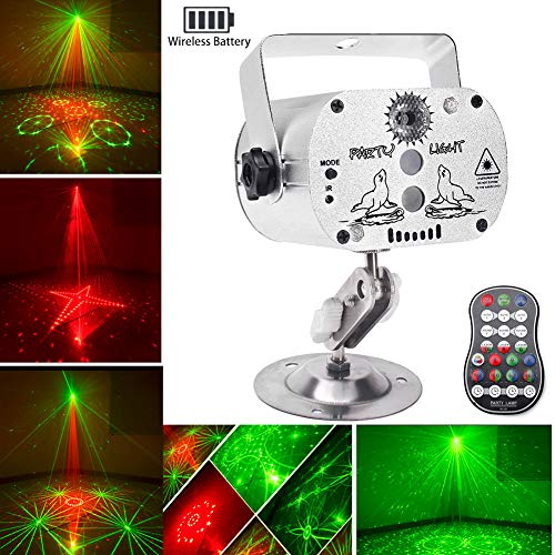 Wireless Party Lights DJ Disco Lights with Built-in Battery, U`King RGB LED Strobe Light Projector Battery Powered 9-24 Hours Playing Remote Control for Weddings Parties Stage Lighting