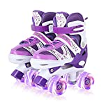 Roller Skates for Kids, Adjustable Size Double Roller Skates, with All Wheels Light up, Fun Illuminating for Girls Boys for Kids, Rollerskates for Kids Beginners, Medium(2-5), Purple
