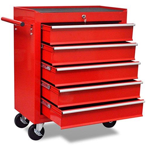 Chariot à outils de l'atelier rouge avec 5 tiroirs 690 x 330 x 772 mm