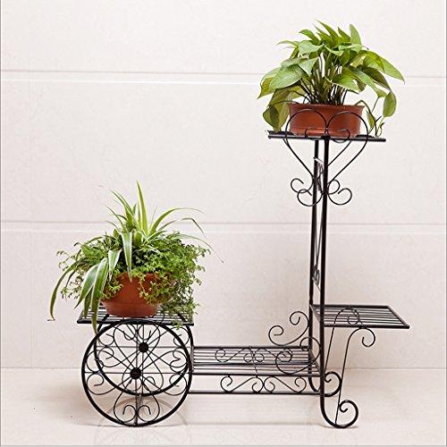 GFL Planteau en Pot à Fleurs en Bois Couches Multiples Porte-Fleurs Porte-Objets en métal décoratifBalcony Pots de Fleurs au Sol Shel Fmulti-Color en Option (Couleur : Noir, Taille : 70 * 65CM)