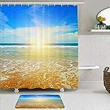 Ngkaglriap Juegos de Cortinas de baño con alfombras Antideslizantes, Amanecer Fantástico Amanecer Océano Nubosidad Naturaleza Al Aire Libre Costa Rayo de Sol Anochecer,con 12 Ganchos