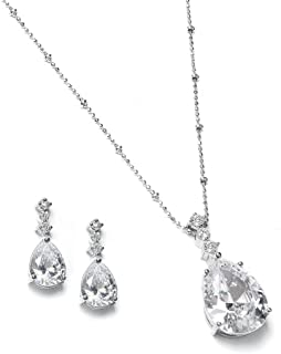Vintage CZ Pear-Shaped Teardrop Necklace and Earring Jewelry Set for Bride, Prom & Bridesmaid