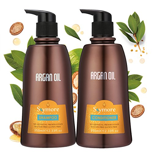 Skymore Arganöl Shampoo und Conditioner Set (2x350ml), Haarpflege Haarwachstum Beschleunigen, Haar Kräftigen, Für Trokenes und Strapazieres Haar