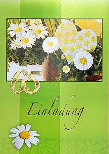 Uitnodigingskaarten 65 verjaardag vrouw man met binnentekst motief bloemen 10 vouwkaarten DIN A6 staand formaat met witte enveloppen in set verjaardagskaarten uitnodiging 65 verjaardag man vrouw K185