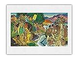 Festival del Mar - Festival hawaiano (Ho'olaule'a) - Menú Matson - Portada de menú de transatlántico de Eugene Savage c.1940s - Impresión de Arte Papel Premium de Arroz Unryu 46x61cm