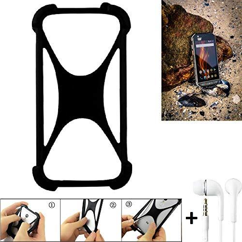 K-S-Trade Handyhülle für Caterpillar Cat S31 Schutzhülle Bumper Silikon Schutz Hülle Cover Case Silikoncase Silikonbumper TPU Softcase Smartphone, schwarz (1x), Headphones