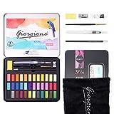 DazSpirit 36 Colores Acuarelas Profesionales & Papel De Acuarela, Acuarelas para Niños, Set De Pintura De Acuarela, Versátil, Vibrante Y Portátil (36 Colores)