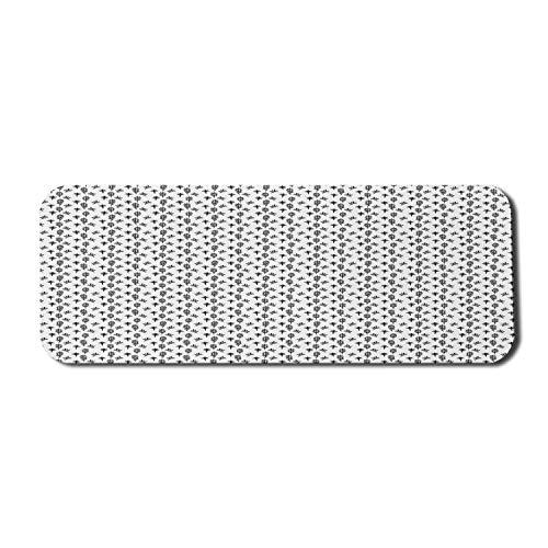Schwarz-Weiß-Computer-Mauspad, abstraktes handgezeichnetes botanisches Motiv Monochromer Pinsel gemalter Stil, rechteckiges rutschfestes Gummi-Mauspad Groß Schwarz-Weiß