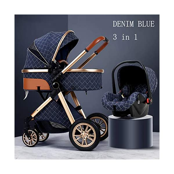 dtyjhu Baby Stroller 3 in 1 High Landscape Recumbent Stroller Lightweight Folding Stroller Baby Stroller dtyjhu 3-in-1 travel kit: equipped with a large stroller (from birth to 9 kg), a baby car seat (from birth to 13 kg) and a stroller, with a maximum load of 25 kg (seat unit 22 kg + basket 3 kg) Comfort: As the backrest and footrest can be adjusted to the lying position, the sunshade, the practical cup holder tray and the large shopping basket, parents and children will be very comfortable Easy to fold: This baby car can be folded compactly in a few seconds, making transportation in public transportation or small cars a game for children 1