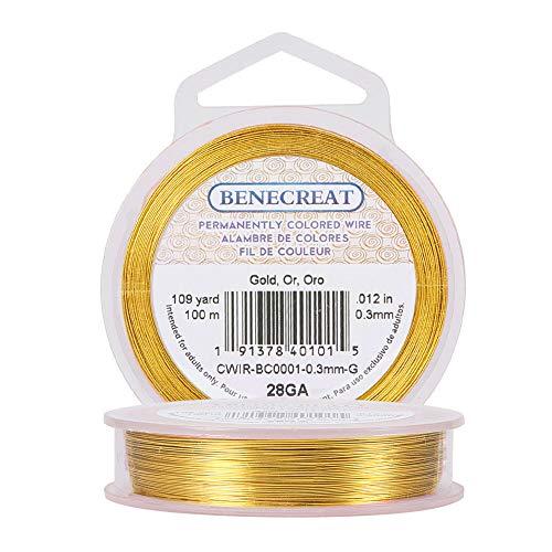 BENECREAT 28Gauge (0.3mm) Fil en Or résistant à la ternissure Fabrication de Bijoux en Fil de Cuivre, 100M/109Yard