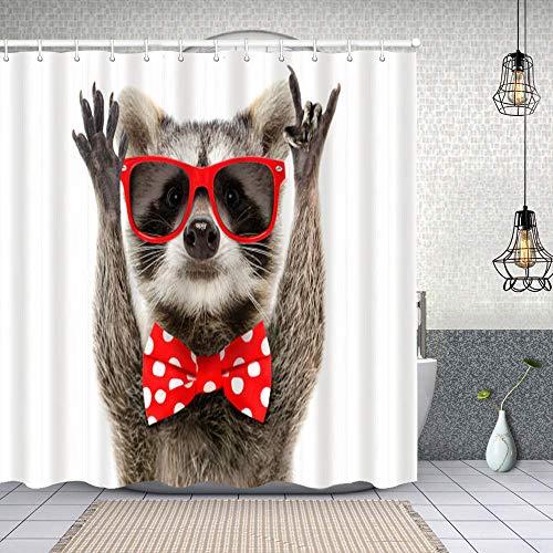 Cortina de Baño con 12 Ganchos,Retrato de un Gracioso Mapache con Gafas de Sol y en Proa mostrando un Gesto de Rock,Cortina Ducha Tela Resistente al Agua para baño,bañera 150X180cm