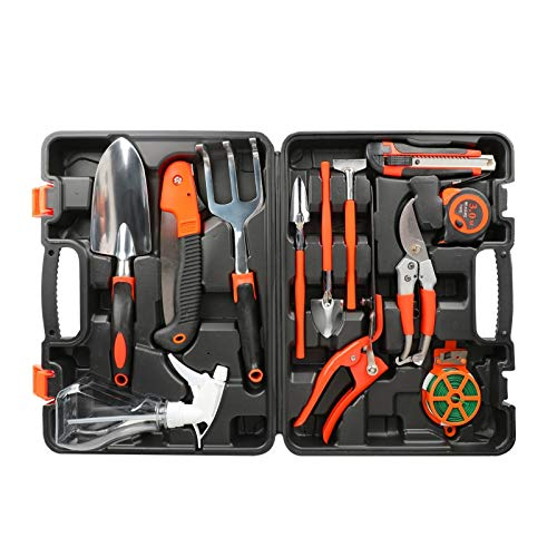 Number-one Garden Tool Set 12 Pieces Gardening Tools Heavy Duty Aluminum Garden Hand Tools with Storage Box, Ergonomic Handle Shovel Trowel Rake Weeder Shear Sprayer, Gardening Gift for Men & Women