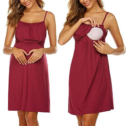 Unibelle Umstandskleid Stillnachthemd Damen Kurz Stillkleid Ärmellose Geburtskleid Nachthemd für Schwangere Weinrot S