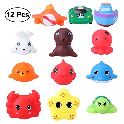 TOYMYTOY Meerestier Bad Spielzeuge Rubber Spritzen Badewanne Spielzeug Pädagogisch Spielzeuge 12er-Pack (12er-Pack Bad Spielzeuge)