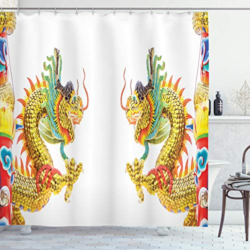 """Ambesonne Dragon Shower Curtain, Chinese Style Dragon Power Oriental Culture Theme, Cloth Fabric Bathroom Decor Set with Hooks, 70"""" Long, Multicolor"""