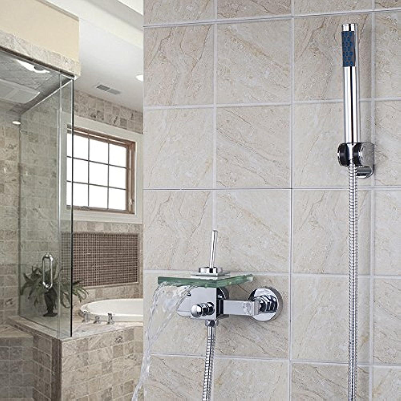 Tourmeler Angemessener Preis einzigen Griff L8203 transparentes Glas Ausguss an der Wand montierte Wasserfall Auswurfkrümmer Badewanne Waschbecken Mischbatterie Badewanne Armatur, Chrom