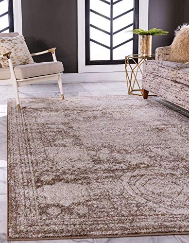 Unique Loom Bromley Collection Vintage Traditional Medallion Border Light Brown Area Rug (10' 0 x 14' 0)